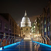 "Saint Paul's Cathedral from Millennium Bridge, London <br><br> Millennium Bridge, a footbridge across the River Thames between Southwark Bridge and Blackfriars Railway Bridge, provides a spectacular view of Saint Paul's Cathedral nested between two modern buildings and bridge supports. The <a href=""https://www.stpauls.co.uk/"">church website </a> has a photo on it's opening page, which sparked my interest in capturing the cathedral at night.  <br><br> Saint Paul's is one of the most visible and notable sights in London, dominating the skyline at the top of Ludgate Hill, the highest point in the City of London. Noted architect Sir Christopher Wren designed the church in the English Baroque style. Wren designed more than 50 London churches after the Great Fire of 1666. The church was consecrated in 1697.  <br><br> Herbert Mason's photograph of the cathedral dome surrounded by smoke from German bombing during the Battle of Britain is an iconic image symbolizing Britain's defiance of Nazi tyranny. The resilient church withstood the bombing; a German time-delayed bomb hit the cathedral in September 1940 and was diffused and removed by a bomb squad. According to <a href=""http://en.wikipedia.org/wiki/St_Paul%27s_Cathedral"">Wikipedia, </a> the bomb would have destroyed the church, as it left a 100 foot crater when later detonated in a secure location.   <br><br> Important services held at St Paul's have included the funerals of Lord Nelson, the Duke of Wellington, Sir Winston Churchill, and Margaret Thatcher; Jubilee celebrations for Queen Victoria; peace services marking the end of the First and Second World Wars; the wedding of Charles, Prince of Wales, and Lady Diana Spencer, and the launch of the Festival of Britain, according to <a href=""http://en.wikipedia.org/wiki/St_Paul%27s_Cathedral"">Wikipedia. </a>"