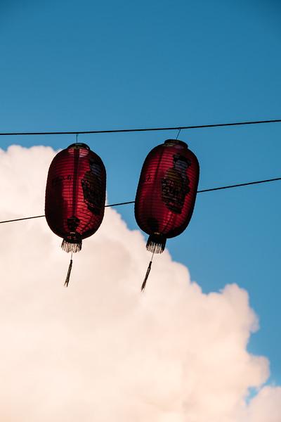 Red lanterns in London chinatown