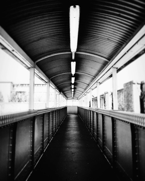 Walkway above the tracks. 2017.