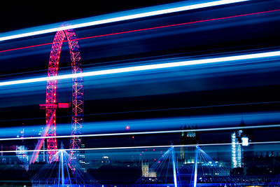 Traffic trails on Waterloo Bridge