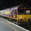 66213 at the stops on Plat 16 in London Euston after arriving with The Concrete Cow railtour 21/01/12