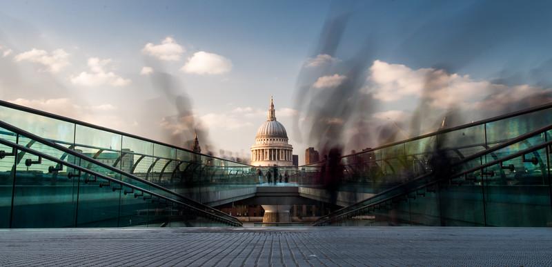 Pedestrians on London's Millennium Bridge