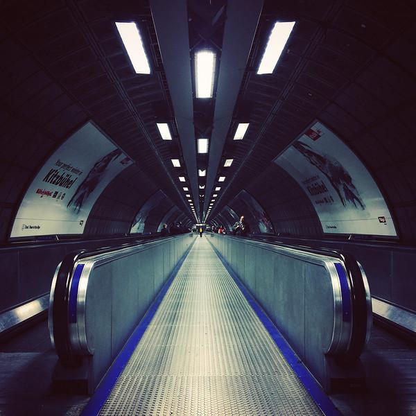 London Waterloo Station Tube Tunnel. 2017.