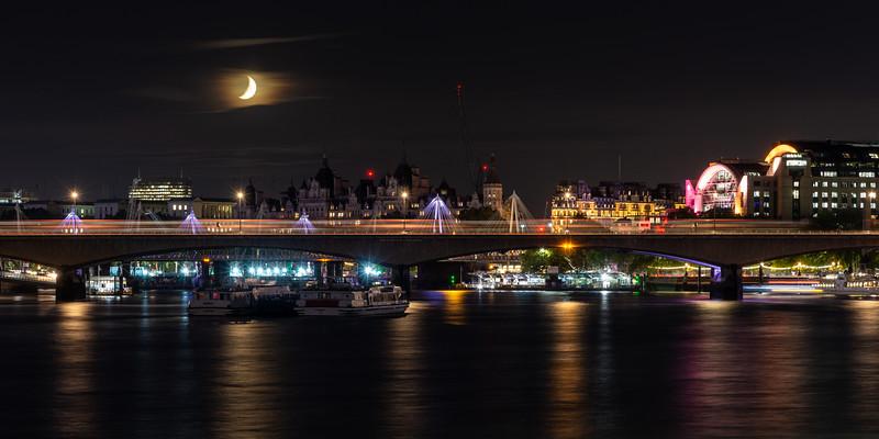 Crescent moon at Waterloo Bridge