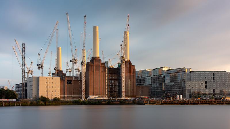 Construction cranes at Battersea Power Station