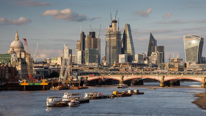 City of London skyline in summer