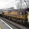 ECR 66045 is seen in the consist of 6E32 behind 92041 at Gospel Oak on 21/01/12