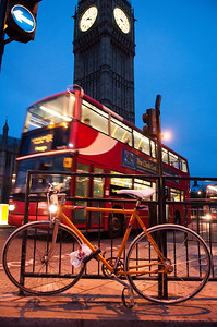 Bicycle and bus outside UK Houses of Parliament