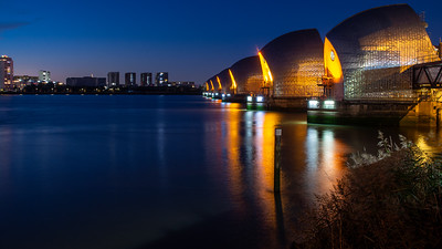 Thames Barrier at night