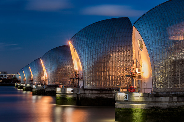 Thames Barriers at night