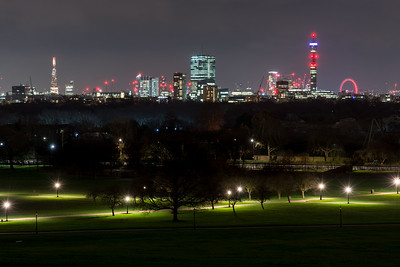 London skyline from Primrose Hill at night