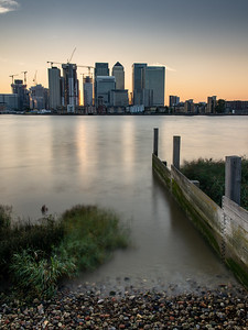 Sunset on the Thames at London Docklands