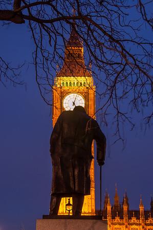 Winston Churchill statue in Parliament Square