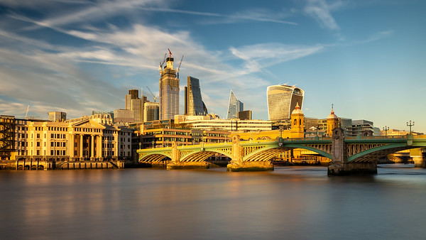 City of London skyline at Southwark Bridge