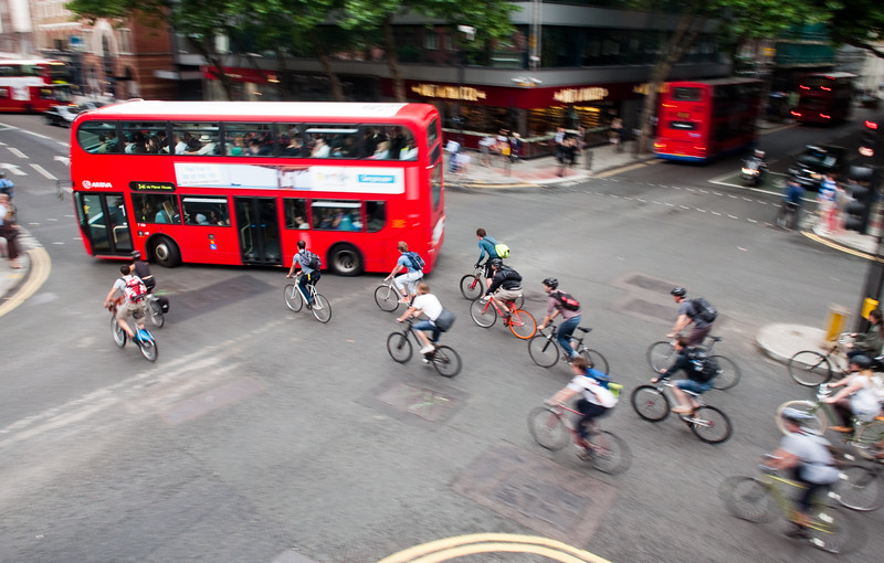 Group of cyclists commuting in London