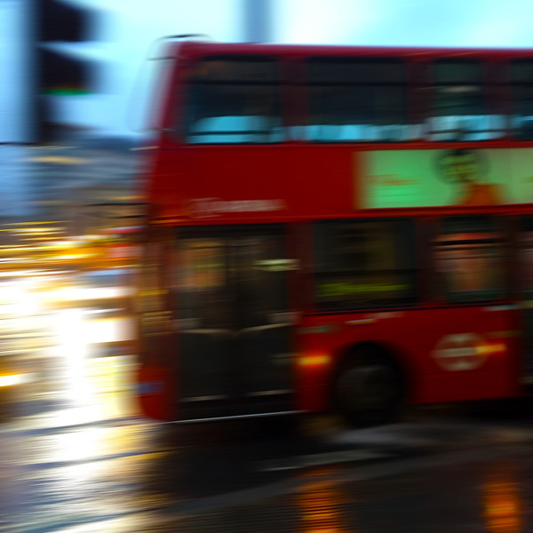 Double decker bus in the rain. 2016.