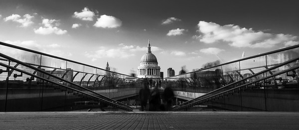 Pedestrians on London's Millennium Bridge