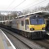 92041 + 66045 DIT haul 6E32 Dollands Moor - Doncaster Decoy - Scunthorpe empty steel flats through Gospel Oak on 21/01/12