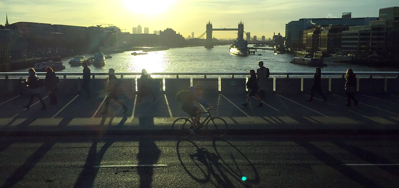 Morning Commute on London Bridge. 2016.
