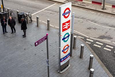 London transport sign at Stratford Station