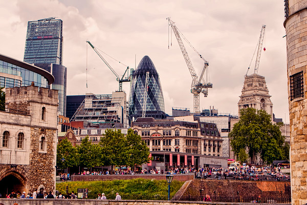 The Gherkin Seen Between the Tower of London