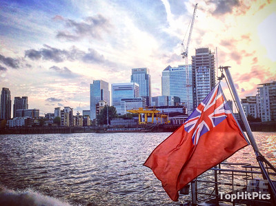 The Thames River with the London Skyline, UK