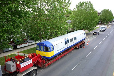 3313 Asset Inspection Train on a low loader at Boston Manor on 25 June 2021  AssetInspectionTrain, LondonUnderground, MoveByRoad