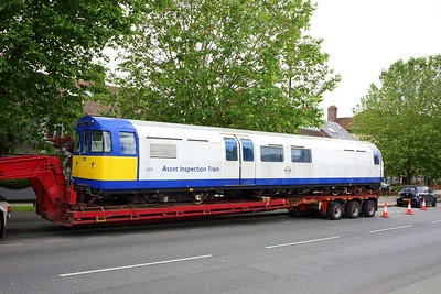 3313 Asset Inspection Train on a low loader at Boston Manor on 25 June 2021  IMG4408  AssetInspectionTrain, LondonUnderground, MoveByRoad