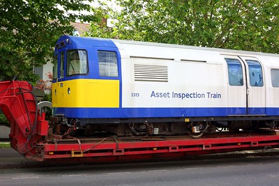 3313 Asset Inspection Train on a low loader at Boston Manor on 25 June 2021  IMG4373  AssetInspectionTrain, LondonUnderground, MoveByRoad