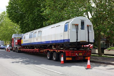 3313 Asset Inspection Train on a low loader at Boston Manor on 25 June 2021  IMG4375  AssetInspectionTrain, LondonUnderground, MoveByRoad