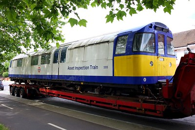 3313 Asset Inspection Train on a low loader at Boston Manor on 25 June 2021  IMG4417  AssetInspectionTrain, LondonUnderground, MoveByRoad