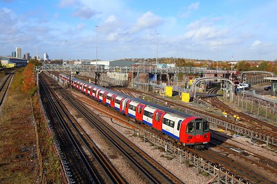 96013 with a southbound Jubilee line train to Stratford at Neasden depot on the 8th November 2018