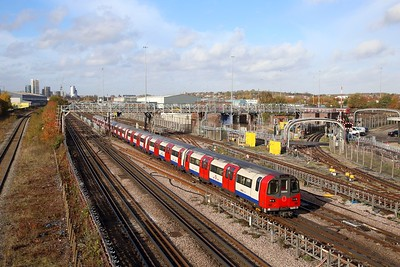 96101 with a southbound Jubilee line train to North Greenwich at Neasden depot on the 8th November 2018