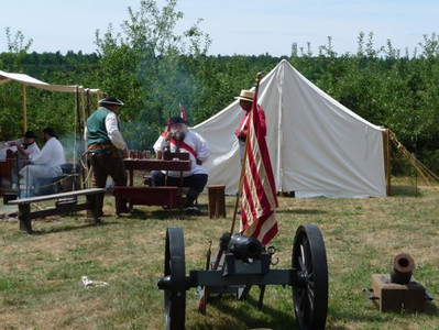 See the re-enactors in their colonial era camp and the kids can try marching and drilling.