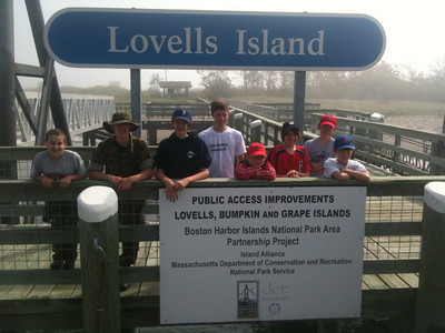 Standing on the dock at foggy Lovells Island from left, are Alex Hawk, Andy Stock, Jack Lawrence-Webb, Bryce Williams, Noah Carey, Logan Wright, Nick Byrne, and Noah Smialek.