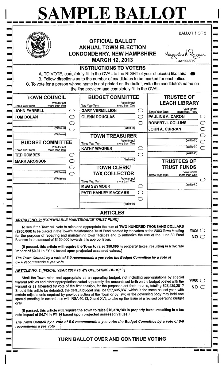 Londonderry Sample Ballot – Londonderry News