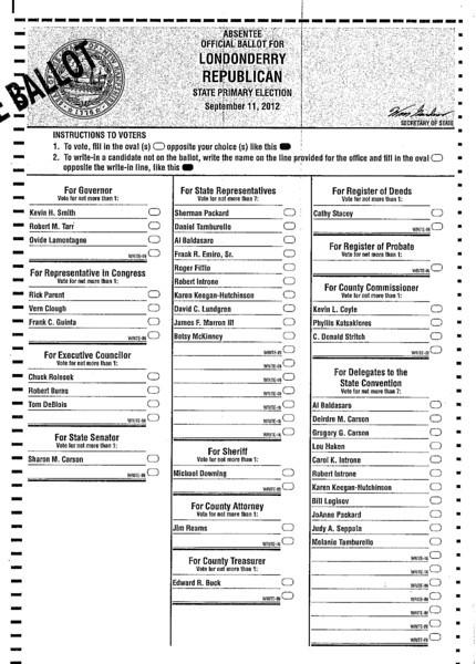 Londonderry general election sample ballot november 4th 2014.