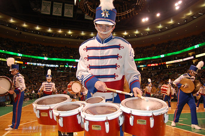 "Londonderry High School Marching Lancer Drum Line junior Justin Hayward plays the ""quints"" on the parquet floor of TD Bank Garden at halftime of Tuesday's Boston Celtics game against the New York Knicks."