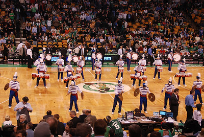 The Londonderry High School Marching Lancer Drum Line filles the parquet floor during the band's halftime show at Tuesday's Boston Celtics game against the New York Knicks. COURTESY PHOTO