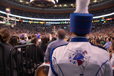 Londonderry High School Marching Lancer Drum Line captain Aaron Beyea waits for the final two minutes to count down in the second quarter before leading his bandmates onto the floor of the TD Bank Garden for a halftime show during Tuesday's Boston Celtics game against the New York Knicks. Photo by Alec O'Meara
