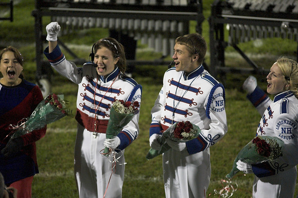 Londonderry High School Marching Band students celebrate when the announcement is made that they will be marching in the Rose Bowl Parade in Pasadena, California.