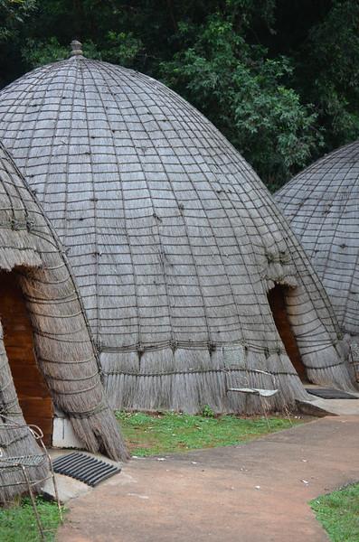 rondavels- accomodations at  at Mlilwane Wildlife Sanctuary, beneath the Nyonyane Mountains