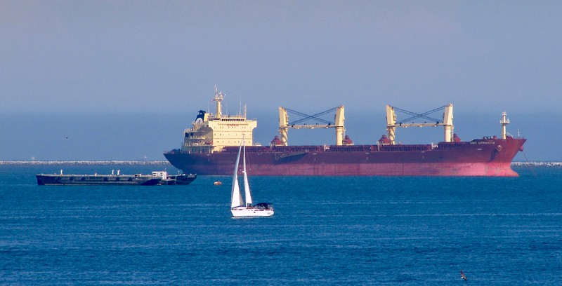 Merchant freighter heading out to sea from Long Beach (2010)