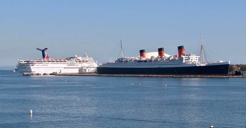 Past and Present: The historic Queen Mary next to the modern Carnival Paradise (2010)