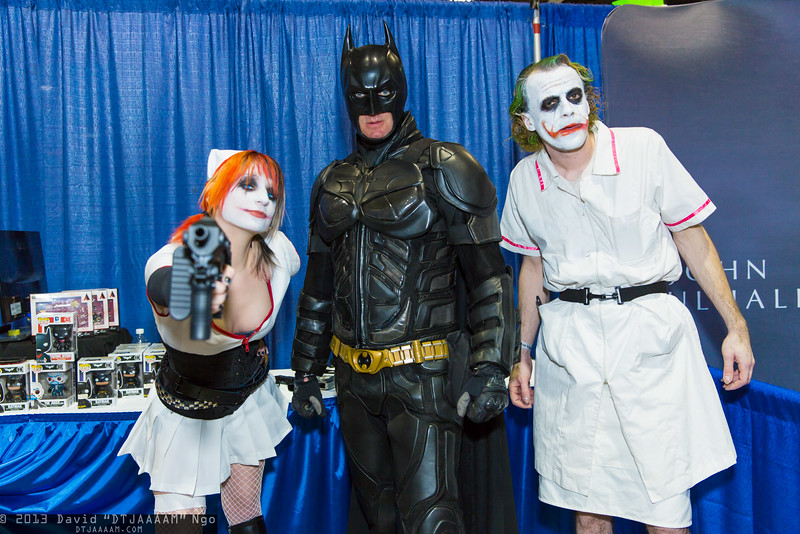 Harley Quinn, Batman, and Joker