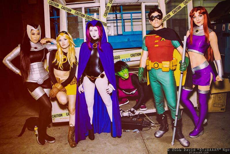 Blackfire, Terra, Raven, Beast Boy, Robin, and Starfire