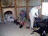 This was a welcome refuge behind which was located a water tank. So we brewed tea, ate and rested the feet. The photograph was taken by one of a couple who drove up and parked outside this shed which is in a really remote location. Notice the cup. It is stainless steel and far too heavy but we have had them with us now for too miles.