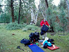 Packing up. Of interest here are the water bottle, the green silk inner sheet and the self inflating mattresses - and perhaps the hiking poles.