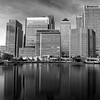 Canary Wharf and London Docklands in monochrome