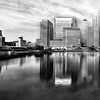 Blackwall Basin and London Docklands - long exposure monochrome
